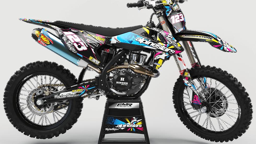 "Custom dirt bike Graphics kit ""ALPINESTARS CA4A"" tricolors"