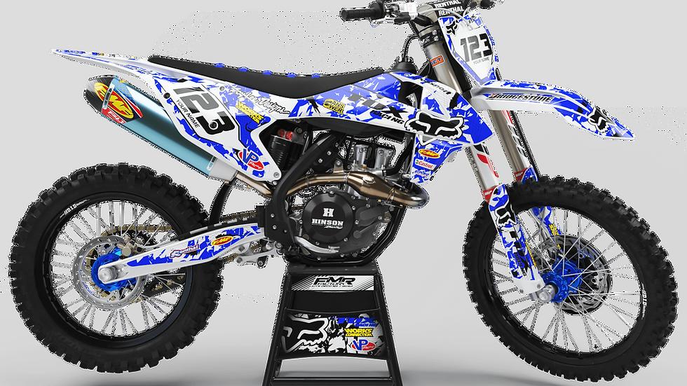 "Custom dirt bike Graphics kit ""FOX CA9E"" blue"