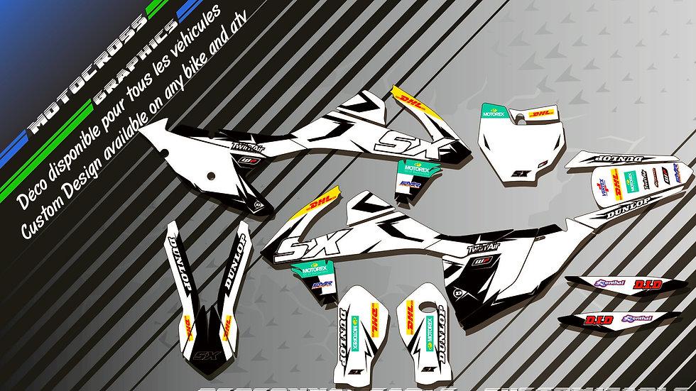 """Factory White Edition KA10CW"" Kit Déco Perso SX SXF 98-17"
