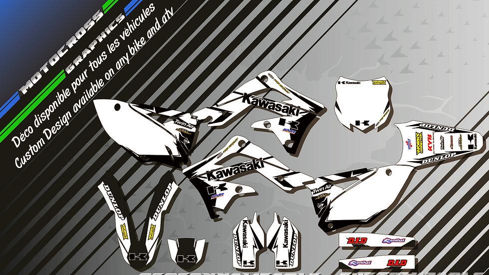 """Factory White Edition CA10BW"" Graphic kit KAWASAKI KXF 450"