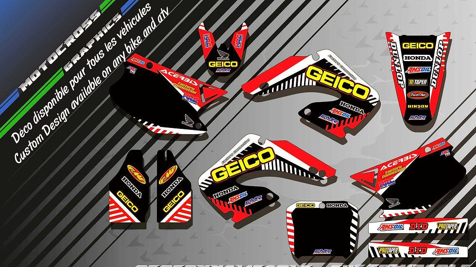 """GEICO CA12A"" Graphic kit HONDA CR 125 & 250"