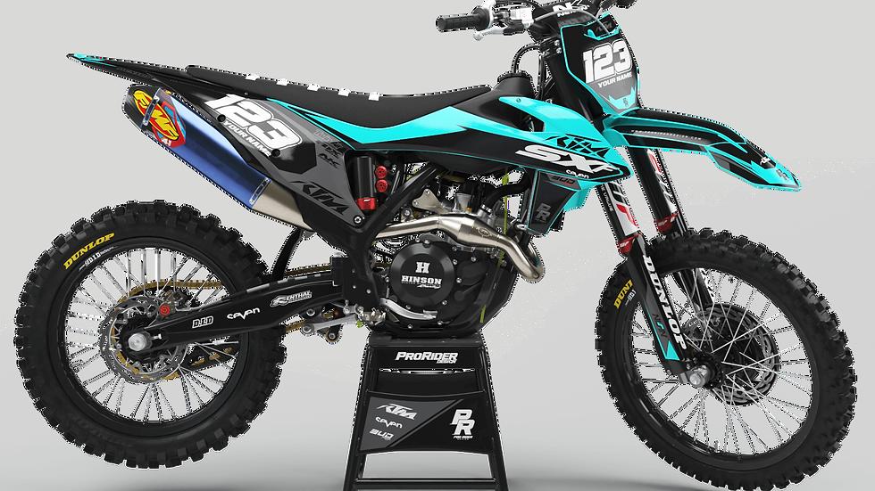 Custom dirt bike Graphics kit KTM BUD RACING NOIR|CYAN BLACK|CYAN CA36C3