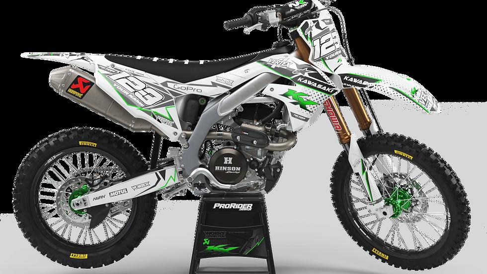 Custom dirt bike Graphics kit KAWASAKI VERTEX WHITE CA39B3