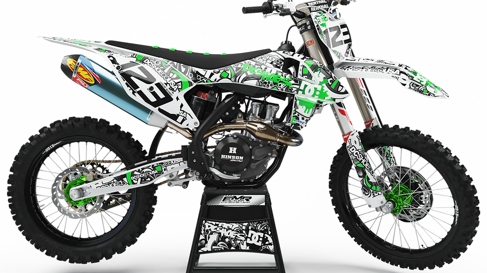 "Custom dirt bike Graphics kit ""DC B&W CA15B"" green"