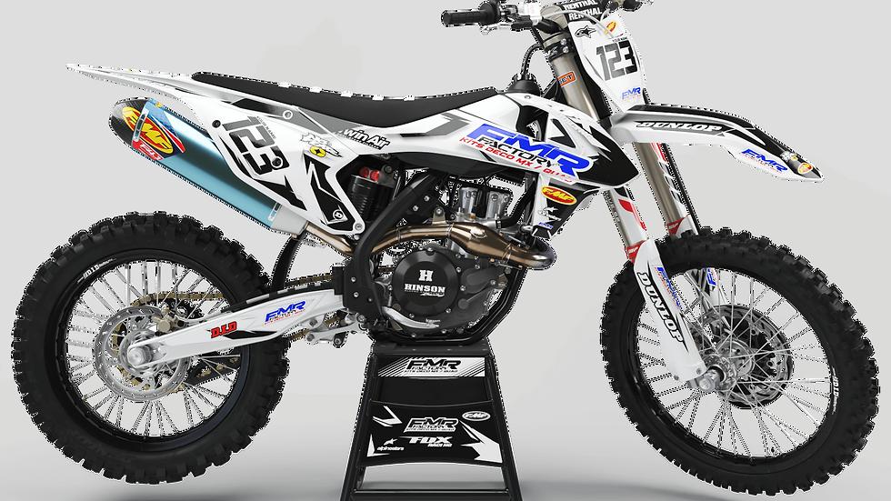 """Custom dirt bike Graphics kit """"FMR FACTORY CA13WT"""" white"""