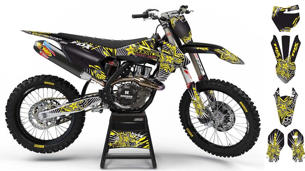 "Custom dirt bike Graphics kit ""FOX BOMB"" yellow mode A29YW"