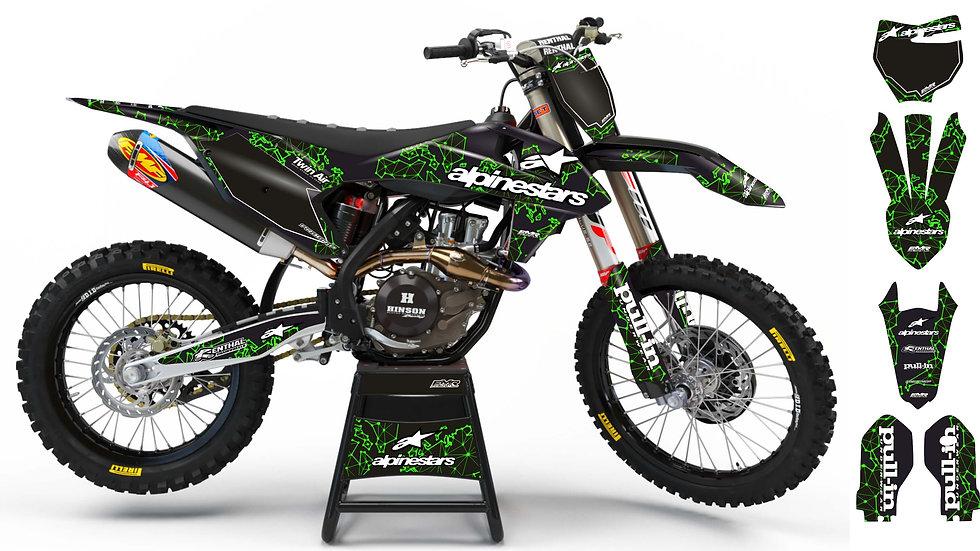 "Custom dirt bike Graphics kit ""ALPINESTARS ADN"" A28GN green"