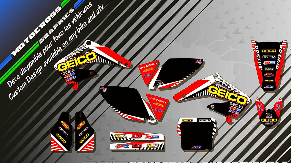 """GEICO CA12A"" Graphic kit HONDA CRF 450R 02-18"