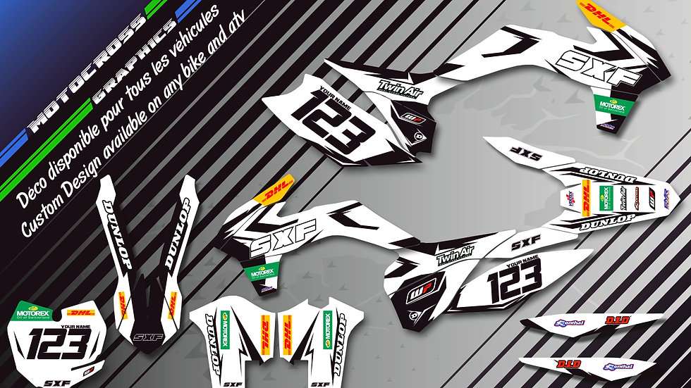 """""""Factory White Edition CA10CW"""" Graphic kit KTM FreeRide"""