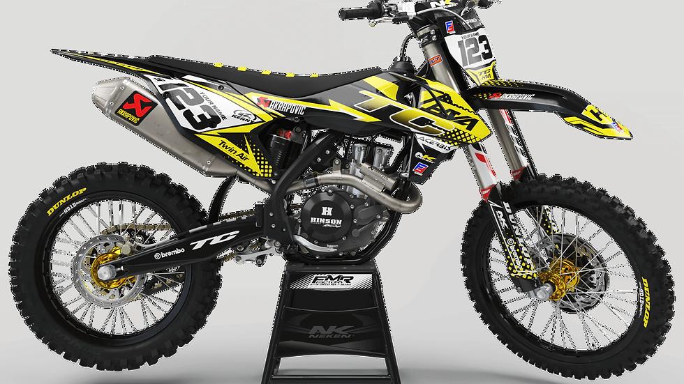 Custom dirt bike Graphics kit Husqvarna FACTORY ENERGY CA33I4 yellow