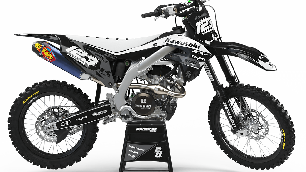 Custom dirt bike Graphics kit KAWASAKI BUD RACING BLACK|WHITE CA36B5