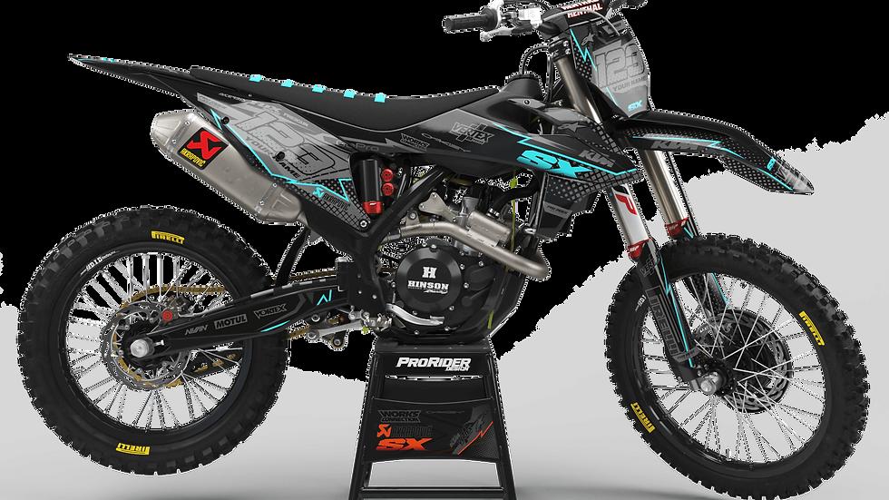 Custom dirt bike Graphics kit KTM VERTEX CYAN CA39C2