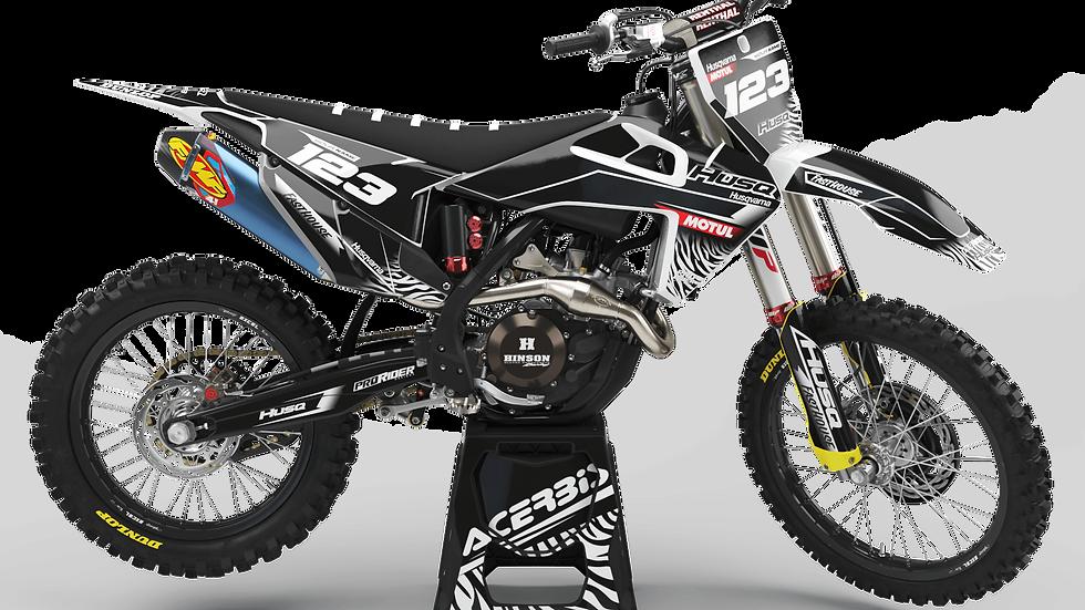 Custom dirt bike Graphics kit Husqvarna MOTUL BLACK and WHITE
