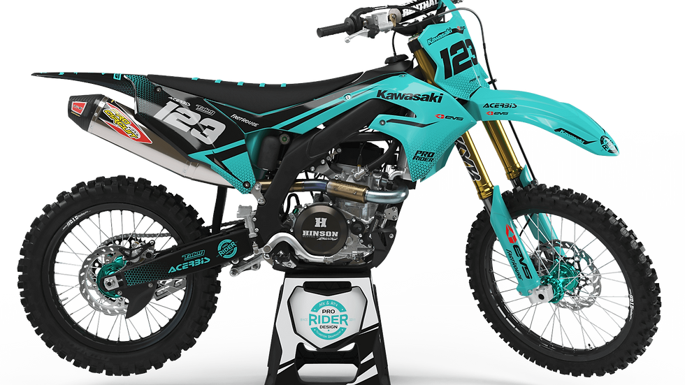 Custom dirt bike Graphics kit KAWASAKI EVS TEAL