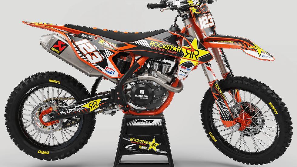Custom dirt bike Graphics kit ROCKSTAR Limited Edition CA19C orange