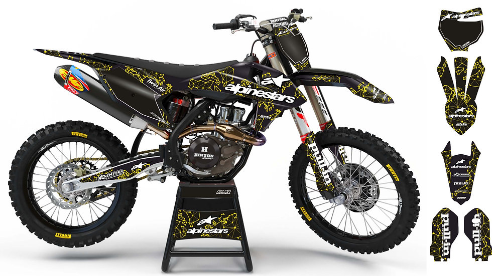 "Custom dirt bike Graphics kit ""ALPINESTARS ADN"" A28YW yellow"