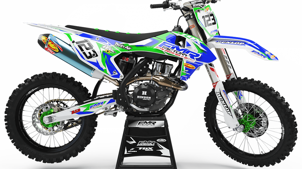 "Custom dirt bike Graphics kit ""FMR FACTORY CA13B"" green"