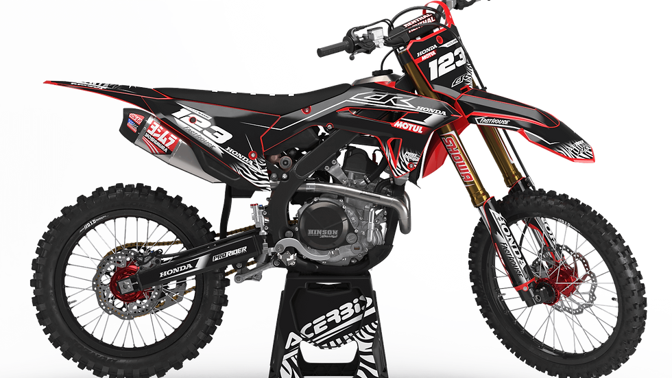 Custom dirt bike Graphics kit HONDA MOTUL BLACK and WHITE