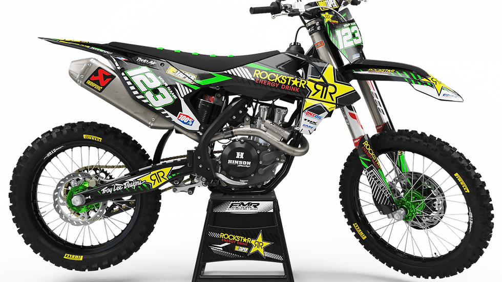 Custom dirt bike Graphics kit ROCKSTAR Limited Edition CA19B green