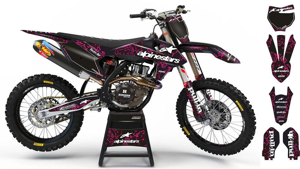 """Custom dirt bike Graphics kit """"ALPINESTARS ADN"""" A28PK pink"""
