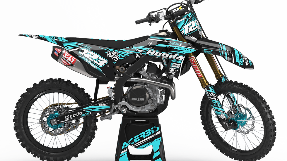 Custom dirt bike Graphics kit HONDA JUST1 TEAL