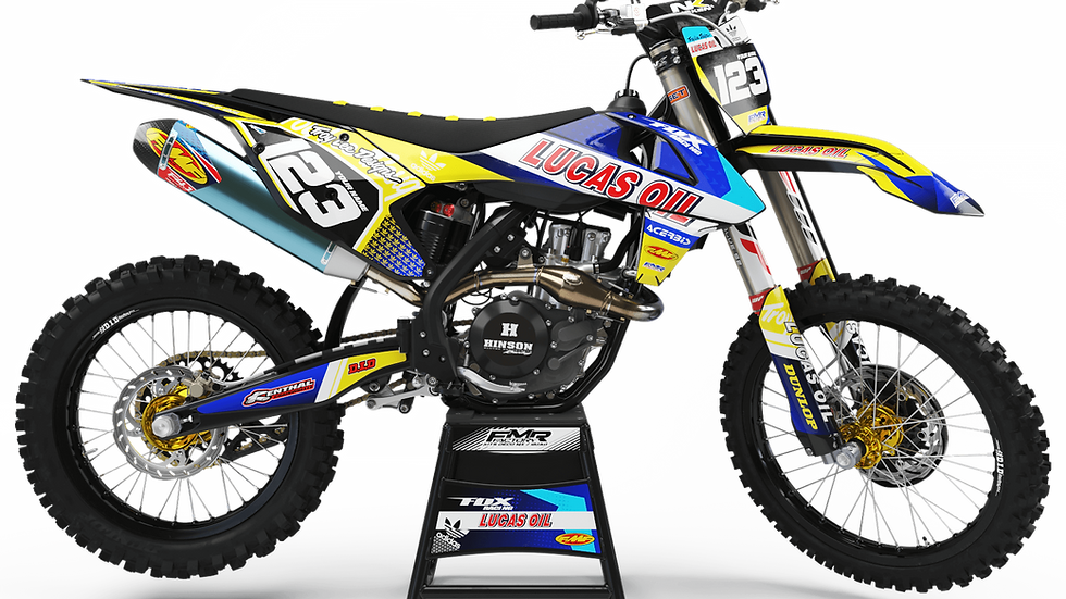 "Custom dirt bike Graphics kit ""LUCAS OIL CA23D"" yellow"