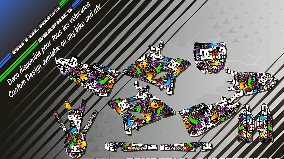 """""""DC Shoes CA14A"""" Graphic kit YAMAHA 125 & 250 YZ 93-17"""