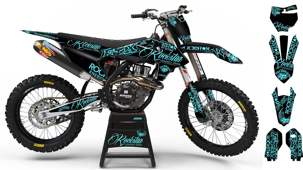 "Custom dirt bike Graphics kit ""ROCKSTAR Signature"" Cyan A30BKCY"