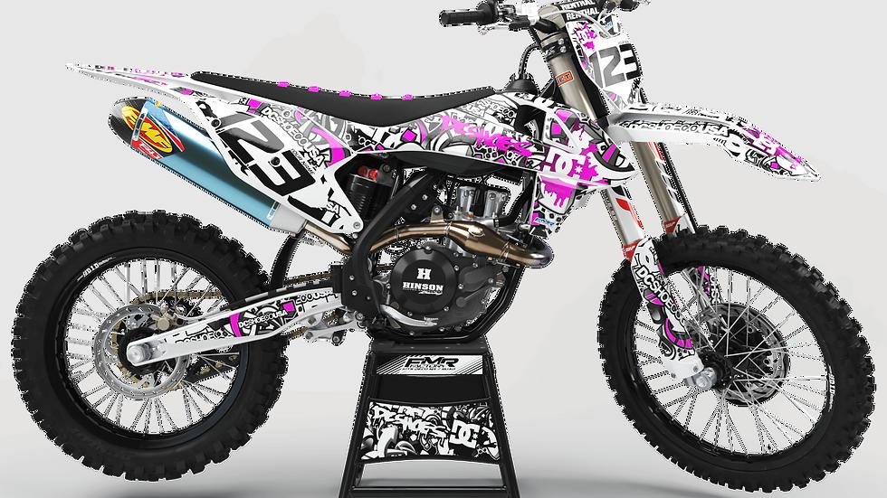 "Custom dirt bike Graphics kit ""DC B&W CA15P"" pink"