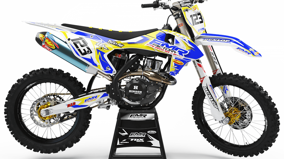 "Custom dirt bike Graphics kit ""FMR FACTORY CA13D"" yellow"