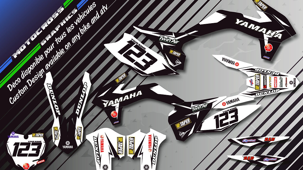 "Custom dirt bike Graphics kit ""Factory Black Edition CA10EB"""