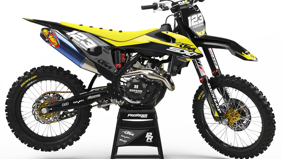 Custom dirt bike Graphics kit KTM BUD RACING BLACK|YELLOW CA36C4