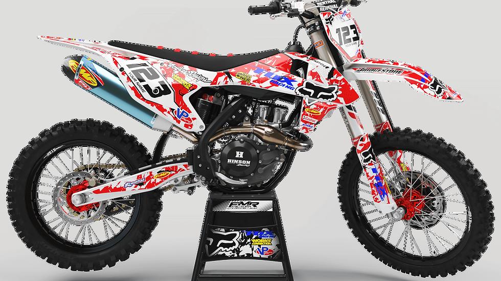 "Custom dirt bike Graphics kit ""FOX CA9A"" red"