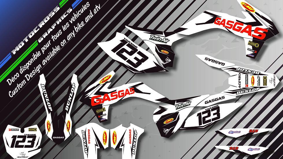 "Custom dirt bike Graphics kit ""Factory White Edition CA10HW"""