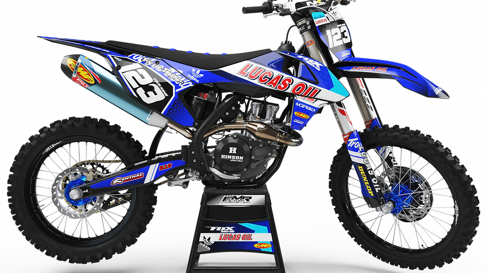 "Custom dirt bike Graphics kit ""LUCAS OIL CA23E"" blue"