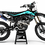 Thumbnail: Custom dirt bike Graphics kit KAWASAKI BUD RACING BLACK|CYAN CA36B3