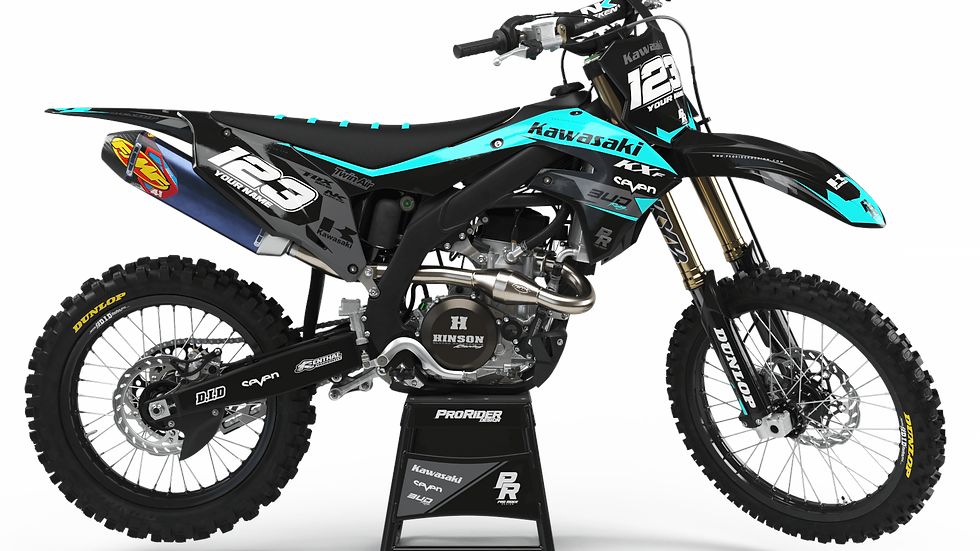Custom dirt bike Graphics kit KAWASAKI BUD RACING BLACK|CYAN CA36B3
