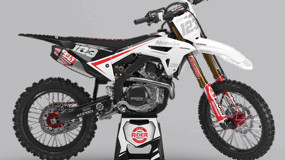 Custom dirt bike Graphics kit HONDA EVS  BLACK AND WHITE