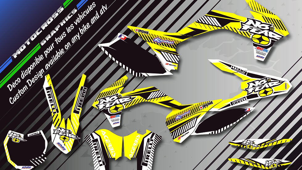 """NO FEAR CA5D"" Graphic kit SUZUKI RM 85"