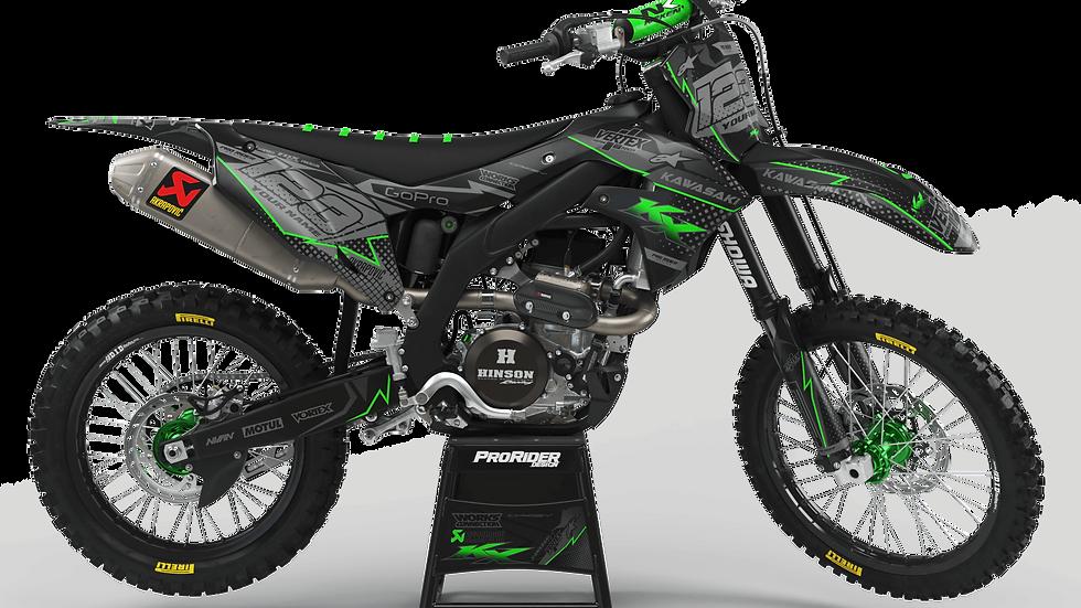 Custom dirt bike Graphics kit KAWASAKI VERTEX BLACK CA39B1