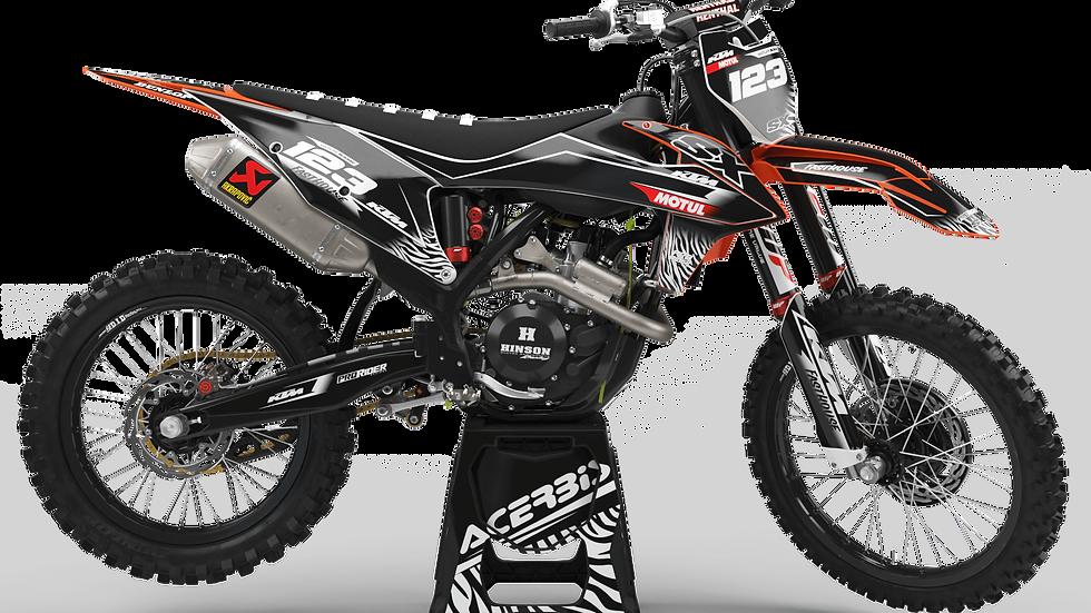 Custom dirt bike Graphics kit KTM MOTUL BLACK and WHITE