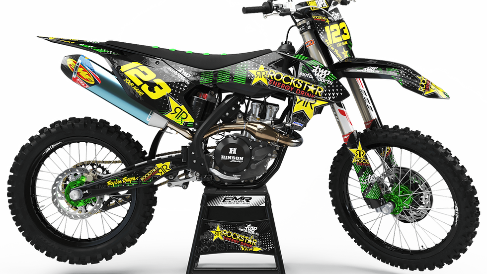 "Custom dirt bike Graphics kit ""ROCKSTAR Energy CA16B"" green"