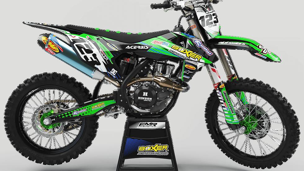 Custom dirt bike Graphics kit BOXER CA1B green
