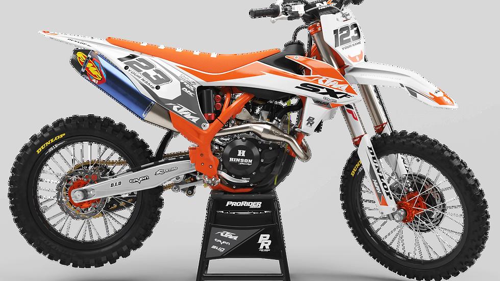 Custom dirt bike Graphics kit KTM BUD RACING WHITE ORANGE CA36C2