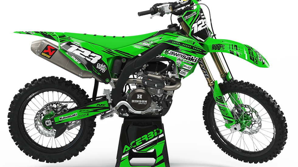 Custom dirt bike Graphics kit KAWASAKI JUST1 GREEN