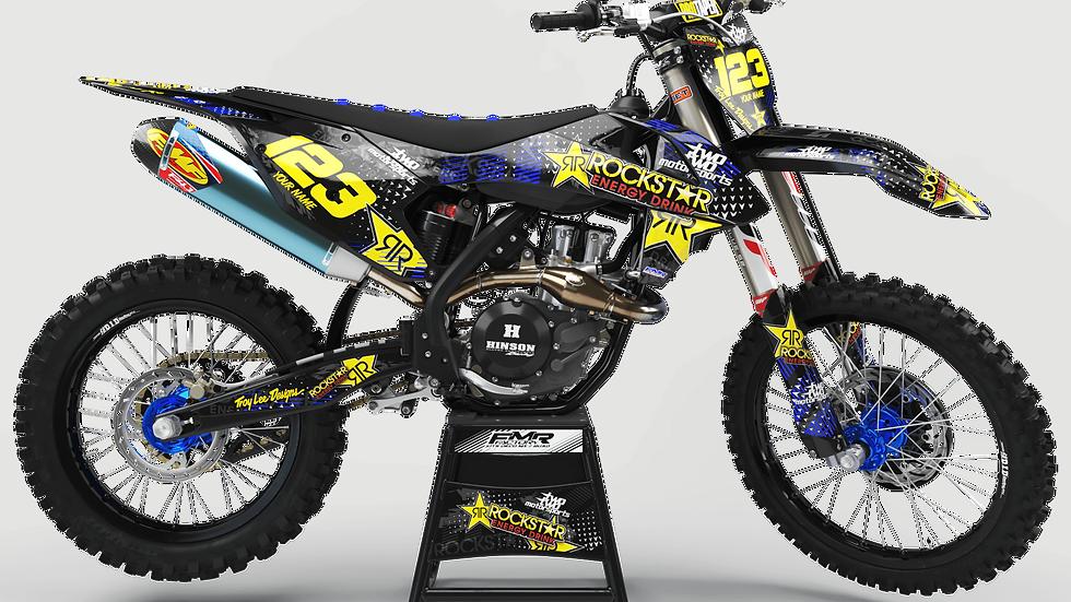 "Custom dirt bike Graphics kit ""ROCKSTAR Energy CA16E"" blue"