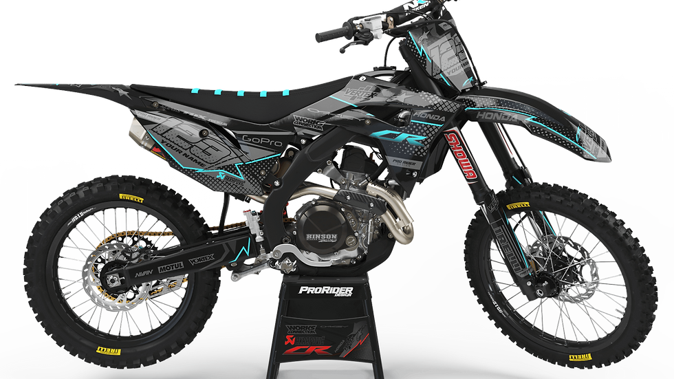Custom dirt bike Graphics kit HONDA VERTEX CYAN CA39A2