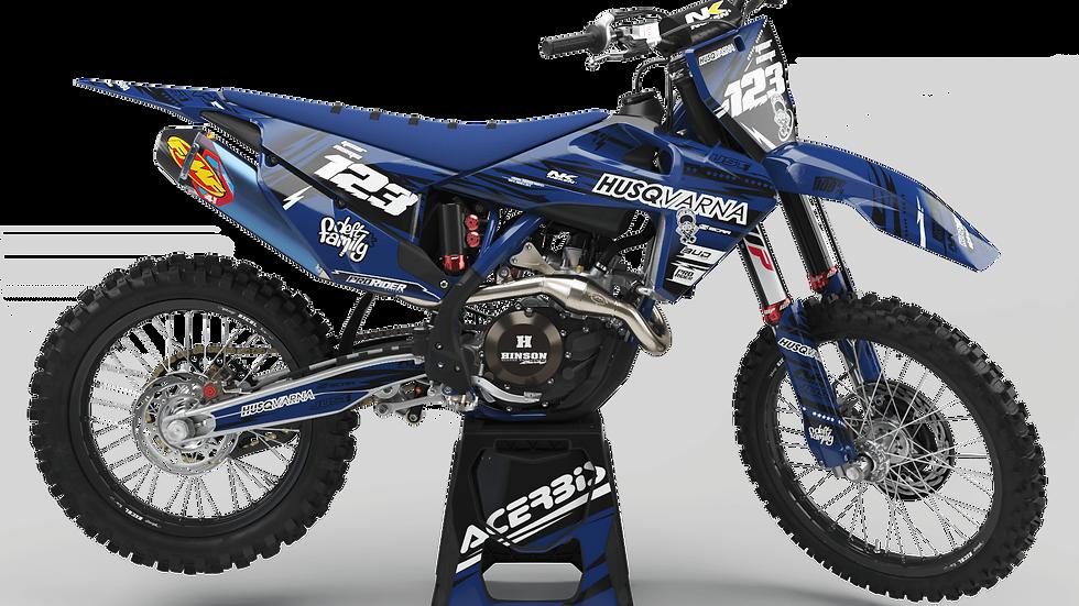 Custom dirt bike Graphics kit Husqvarna JUST1 BLUE and BLACK