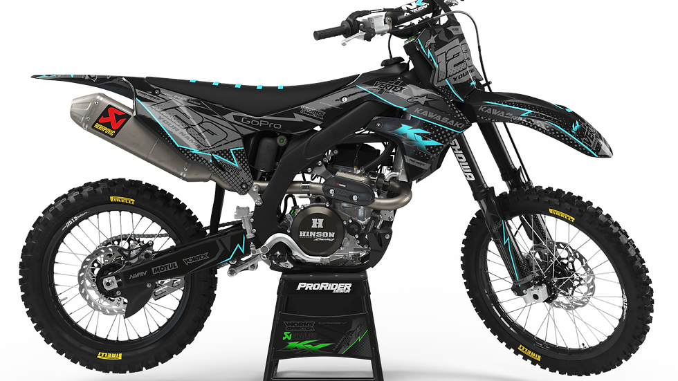 Custom dirt bike Graphics kit KAWASAKI VERTEX CYAN CA39B2