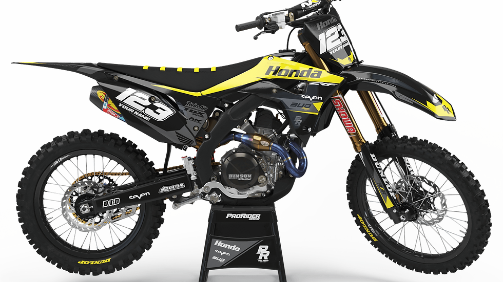 Custom dirt bike Graphics kit HONDA BUD RACING BLACK YELLOW CA36A4